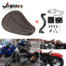 Brown Motorcycle Leather Solo Seat + Silver Brackets Spring for Harley Sportster XL1200 XL883 48 2004 04 DHL Shipping