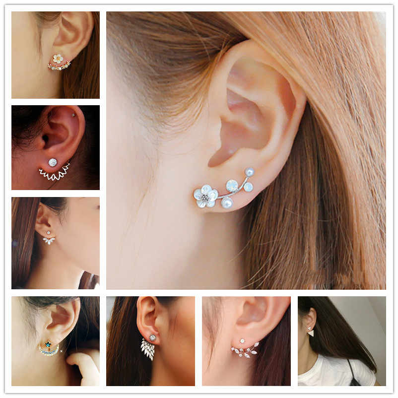 2017 New Fashion Crystal Earrings for Women Pearl Women Branch Shell Pearl Flower Stud Earrings Female