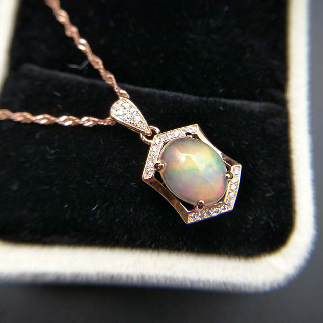 Ethopian Opal Pendant with Silver Chain 2
