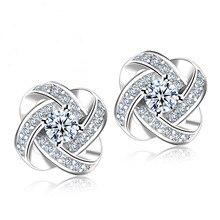 JEXXI 925 Silver Crystal Stud Earrings For Women Fashion Luxury Cubic Zirconia Paved Wedding Earring Jewelry Accessory