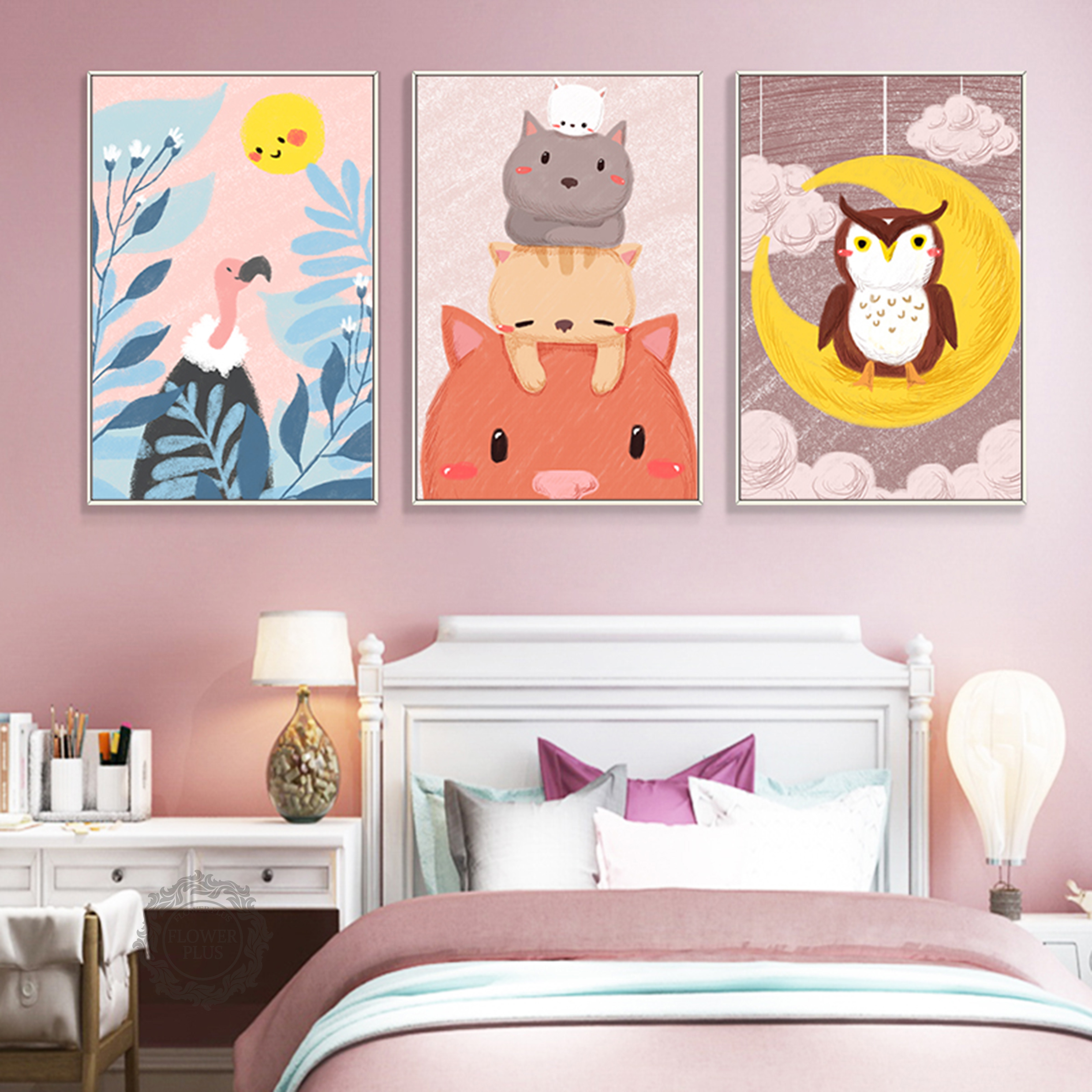 Nordic Style Painting Cartoon Animal Prints Canvas Home Decoration Wall Art Modular Pictures Watercolor Poster For Kids Room in Painting Calligraphy from Home Garden