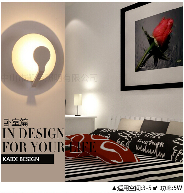 ФОТО modern brief novel creative original design round 5w led acryl decorative wall lamp living room bed room aisle indoor light 1579