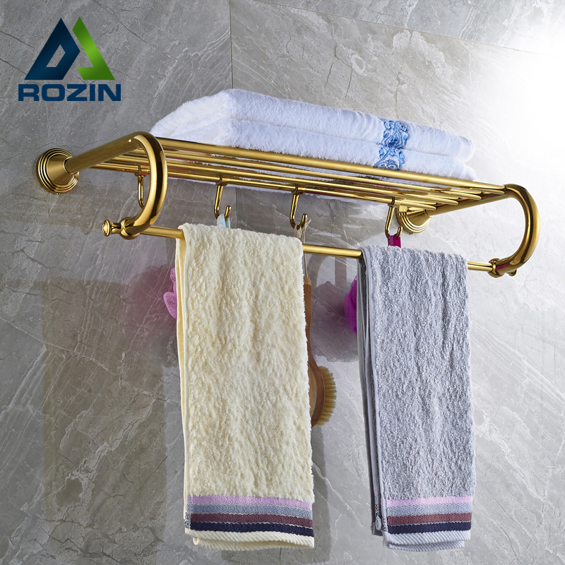Golden Wall Mounted Retro Style Bath Towel Shelf Bathroom Towel Holder Towel Bar aluminum wall mounted square antique brass bath towel rack active bathroom towel holder double towel shelf bathroom accessories