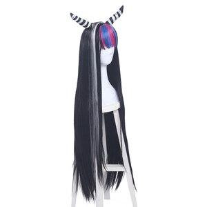 Image 3 - L email peruk Danganronpa Mioda Ibuki Cosplay peruk uzun karışık renk düz Cosplay peruk cadılar bayramı isıya dayanıklı sentetik saç