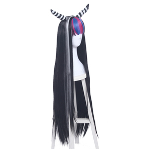 Image 3 - L email wig Danganronpa Mioda Ibuki Cosplay Wigs Long Mixed Color Straight Cosplay Wig Halloween Heat Resistant Synthetic Hair
