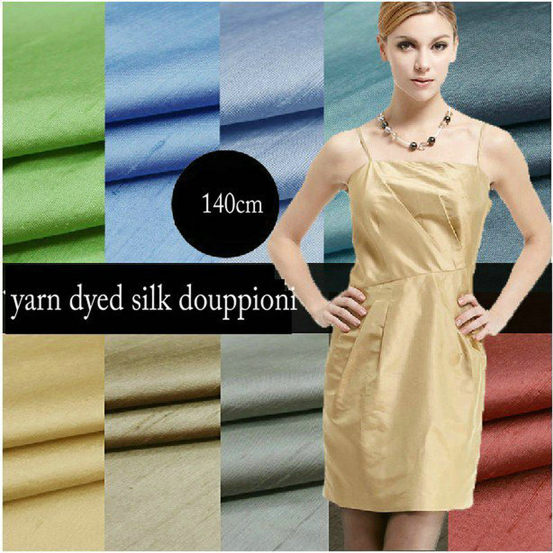 100% Nature Silk Yarn Dyed Silk Dupion Fabric For Dress Curtain Hometextile H1BS12