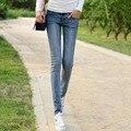 Корейский стиль хлопок эластичные джинсы женщин способа качества тонкий ковбой джинсовые брюки отбеленные винтаж молния fly карандаш Джинсы D124