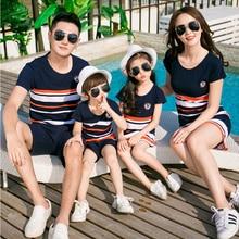 Одинаковые комплекты для семьи; Новинка года; модная летняя футболка в полоску в Корейском стиле; платья для мамы и дочки; Комплект для папы и сына; Комплект для маленьких мальчиков и девочек