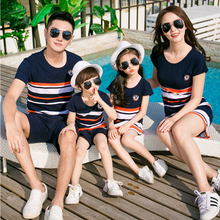 Matching Family Outfits 2019 New Summer Fashion Korea Style Striped T-shirt Mother Daughter Dresses Father Son Baby Boy Girl Set
