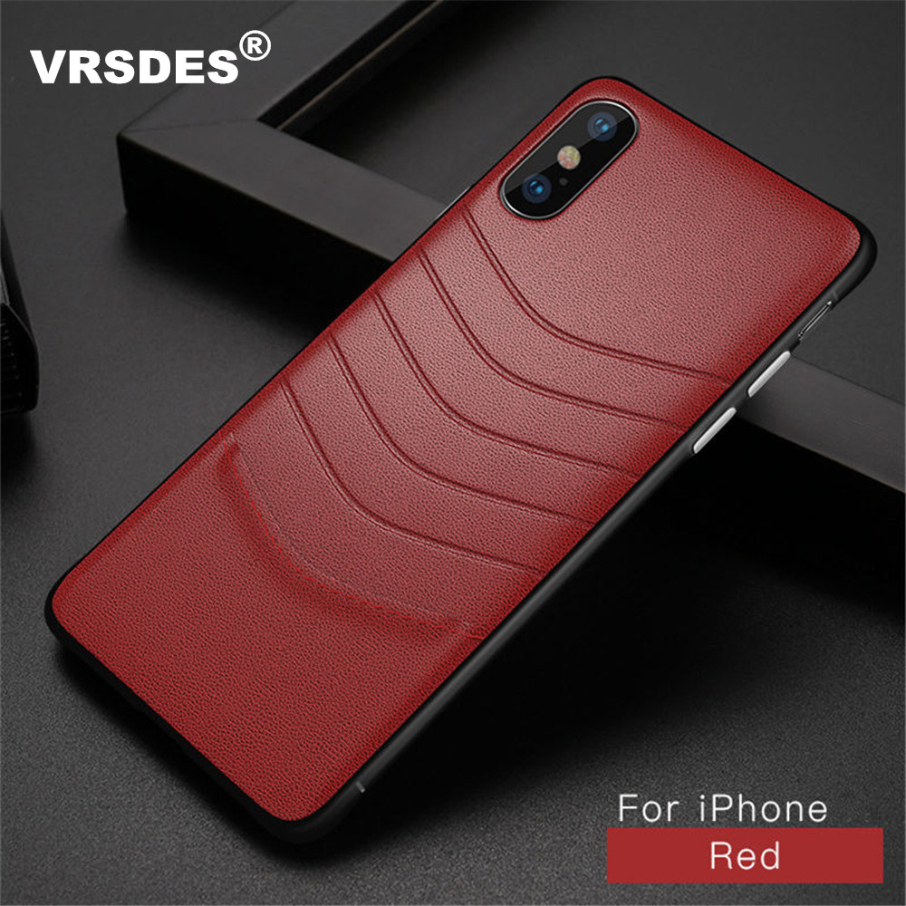 VRSDES Ultra Thin PU Leather Phone Case For iPhone X XS Max 7 8 Plus Cover