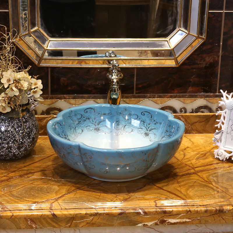 Jing Yan European art platform basin household ceramic lavatory ...