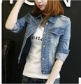 2016 Otoño Primavera de Manga Larga Mujer Chaqueta de Mezclilla Deshilachada Chaqueta Femenina Vintage Ripped Jeans Para Mujeres Ropa Chaquetas Mujer