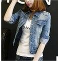 2016 Primavera Outono de Manga Comprida Mulheres Jaqueta Jeans Desgastado Jaqueta Jeans Feminino Rasgado Para As Mulheres Do Vintage Roupas Chaquetas Mujer