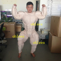 ohlees real actual picture Muscle Suit padding Mascot Costumes Halloween Christmas Birthday Party Dress Men's mascot suits