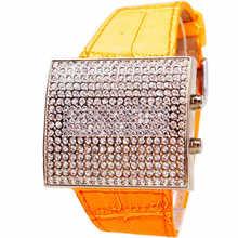 Топ-Абсолютно Натуральная Кожа Площади Высокого класса Полный Diamond Dial Женские Часы LED Платье Роскошь Кварц Famale Повседневная Наручные часы