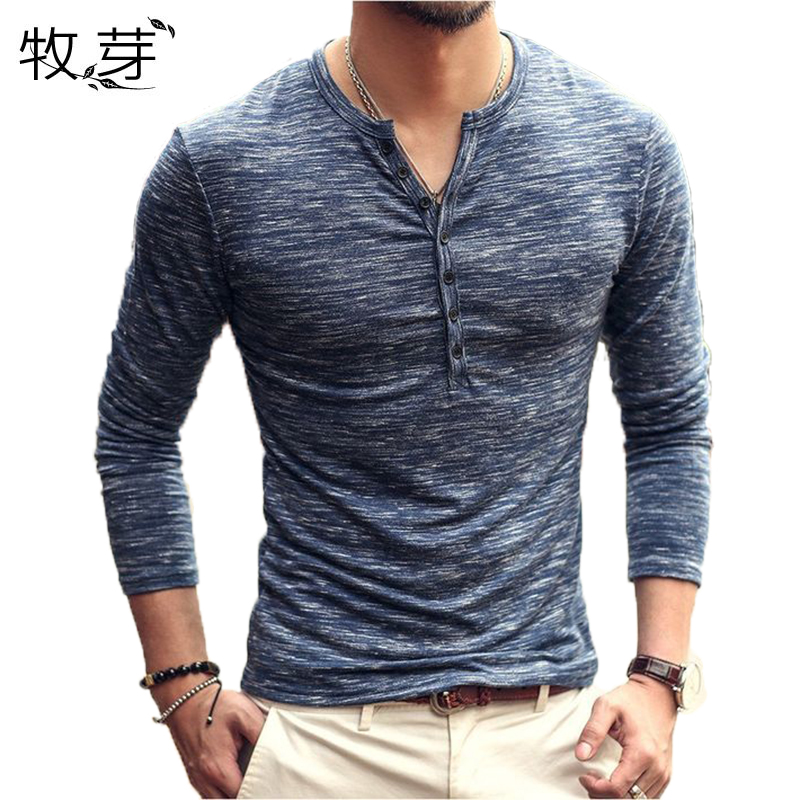 2018 New Brand Designer Men Cotton Vintage Henry T Shirts Casual Long Sleeve High quality Men old color Cardigan T-shirt