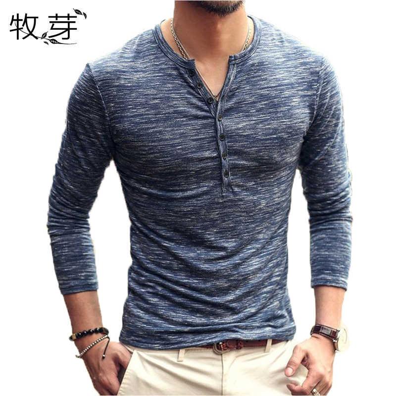 2018 新ブランドデザイナーの男性の綿ヴィンテージヘンリー Tシャツカジュアル長袖高品質男性オールド色カーディガン Tシャツ