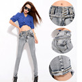 Women Jeans Denim Pants High Waist 2017 New Cotton Slim Tight Designer Blue Jeans Pant For Women Skinny Elastic Waist
