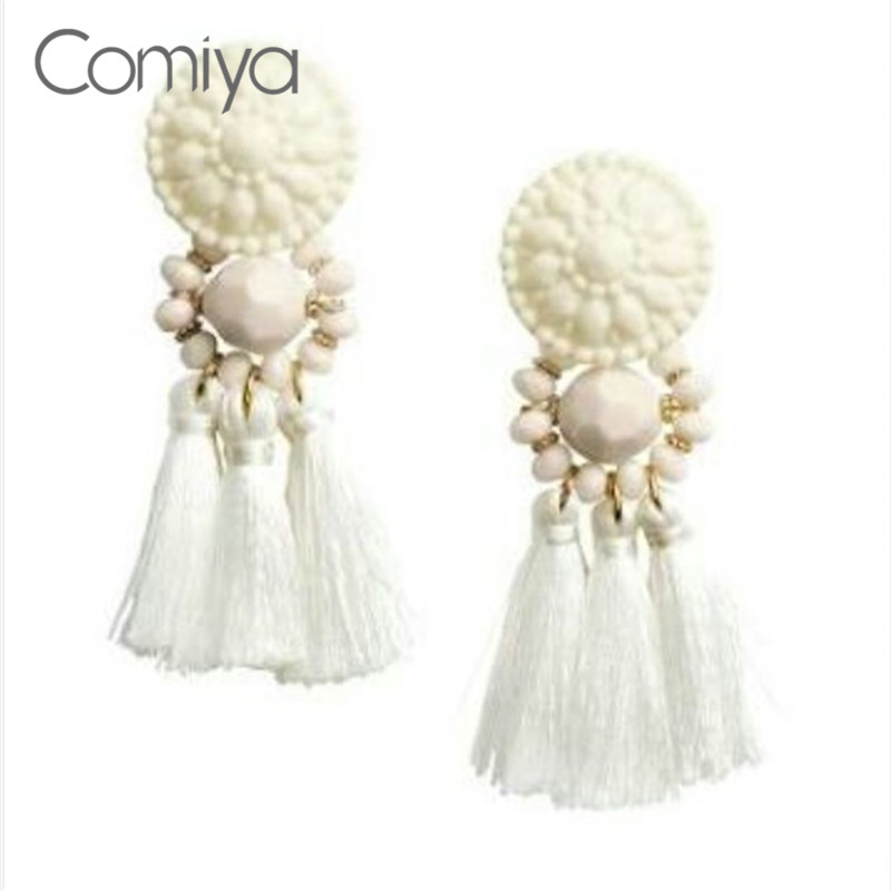 Comiya White Tassel Statement Dangle Earrings For Women Fashion Crystal Earring Jewelry Bohemia Retro Ethnic For Mother's Day
