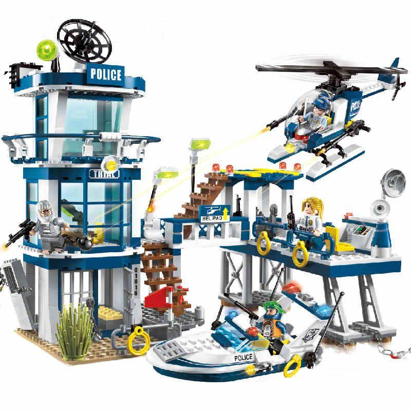 Models building toy 1916 565Pcs Police Rescue Plan Helicopter Model City Building Blocks compatible with lego toys & hobbies