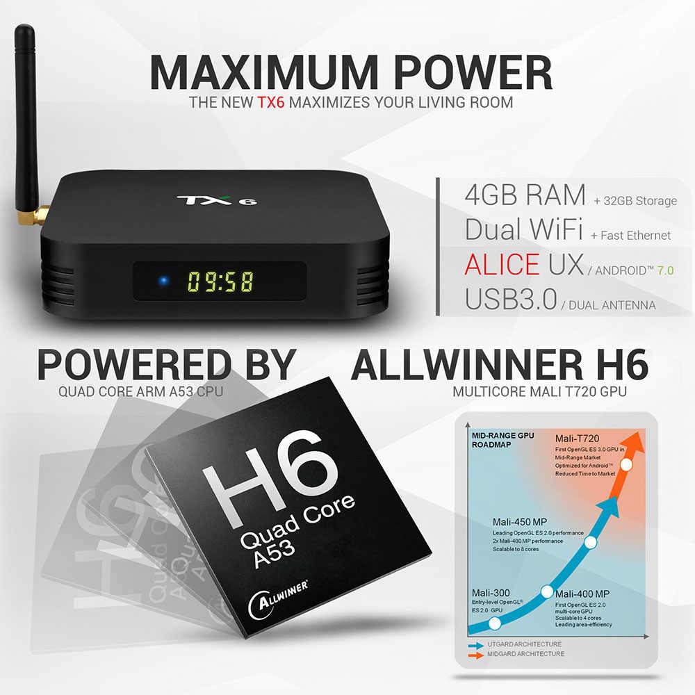Android 9.0 Smart TV BOX Allwinner H6 Quad Core BT 4.0 USB 3.0 Wifi 2.4G/5G 4K HD lecteur multimédia décodeur TX6 VS HK1 MAX MINI