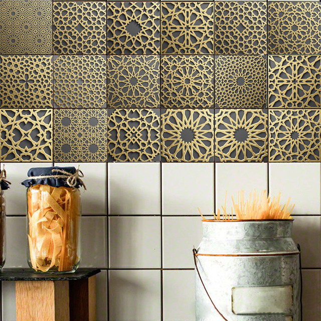 Moroccan Style Retro Tile Floor Sticker For Kitchen Pvc Waterproof Waist Line Wall Stickers Bathroom Decoration