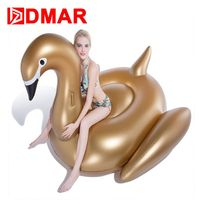 DMAR Inflatable Golden Swan Giant Pool Float 190cm Swimming Ring Mattress Swimming Circle Beach Summer Water Game Party Toys