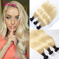 Blonde Ombre Brazilian Virgin Hair Straight 3 Bundles 1B 613 Ombre Human Hair Extensions Platinum Blonde Two Tone Straight Hair