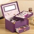 High-grade knitting patterns  stylish portable storage box  leather jewelry race cosmetic  box jewelry box  Free shipping