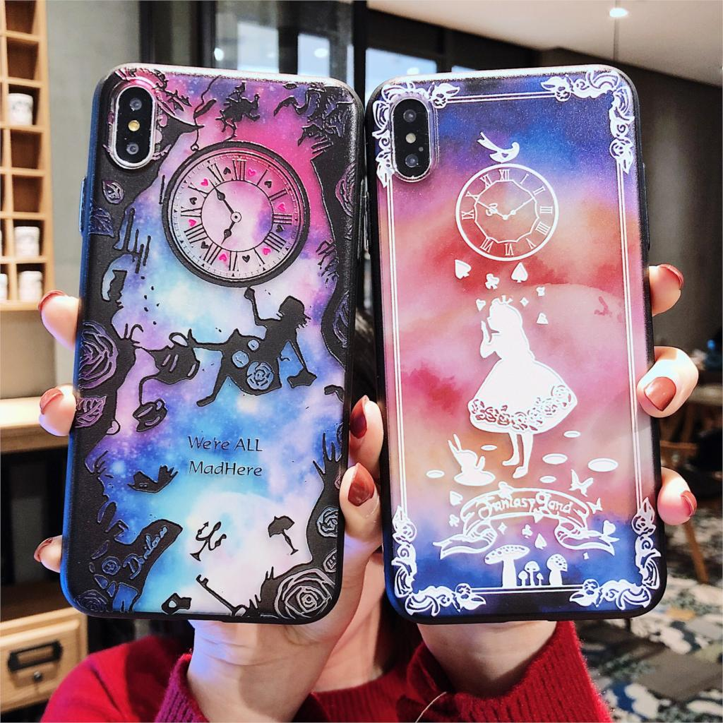 Fashion Alice Princess Mermaid Pattern Phone Case For iPhone 6 6s 7 8 Plus X XS Max XR Plating Button TPU+PC Hard Cover Coque