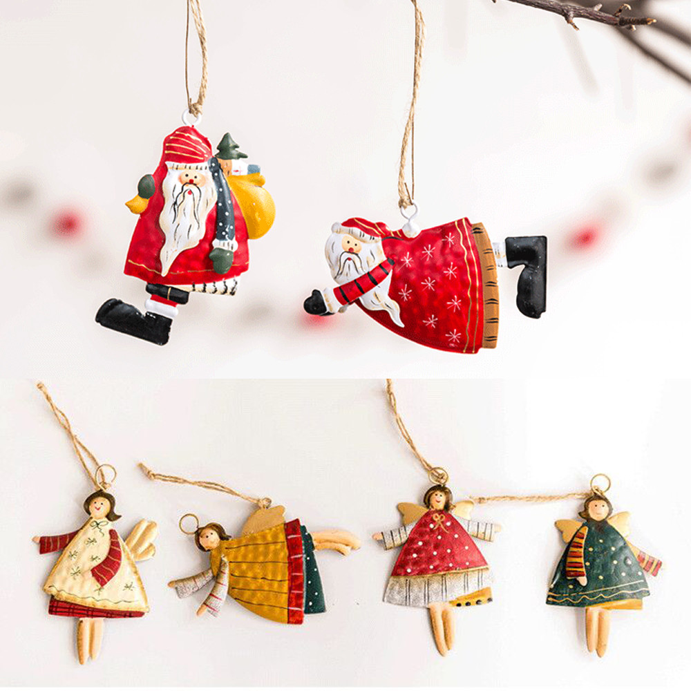 Christmas Tree Hanging Angel Bear Santa Bells Decoration Xmas Party Wedding Ornament Metal Pendants Christmas Gifts#25(China)