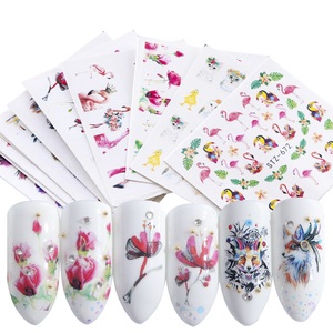 Image 3 - 15pcs Mixed Sticker Nails Art Slider Set Flamingo Owl Flower Animal Designs Water Manicure Tips Foil Nail Decals CHSTZ659 673 1