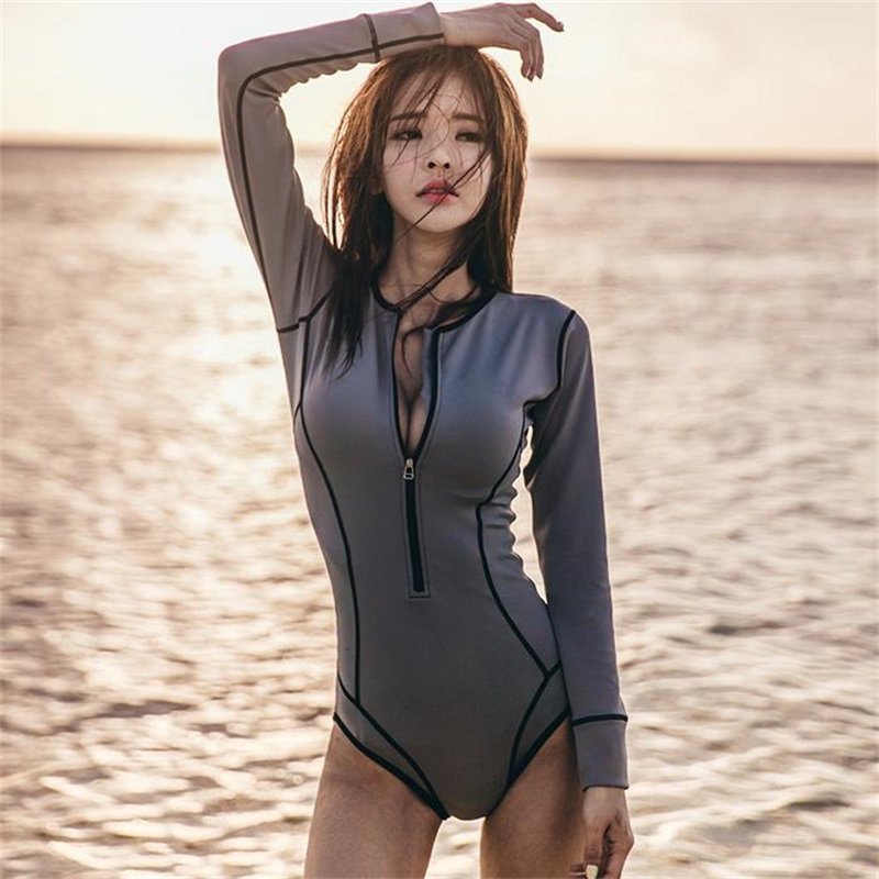 Women One Piece Suit Sexy Active Swimsuit Black Pattern Long Sleeve Zipper Front Swimwear Female Monokini