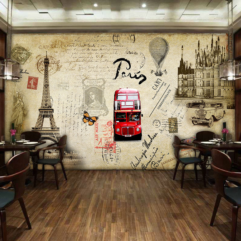 Custom mural  retro stamps architectural wallpaper restaurant cafe living room dining room background bus tower wallpaper mural