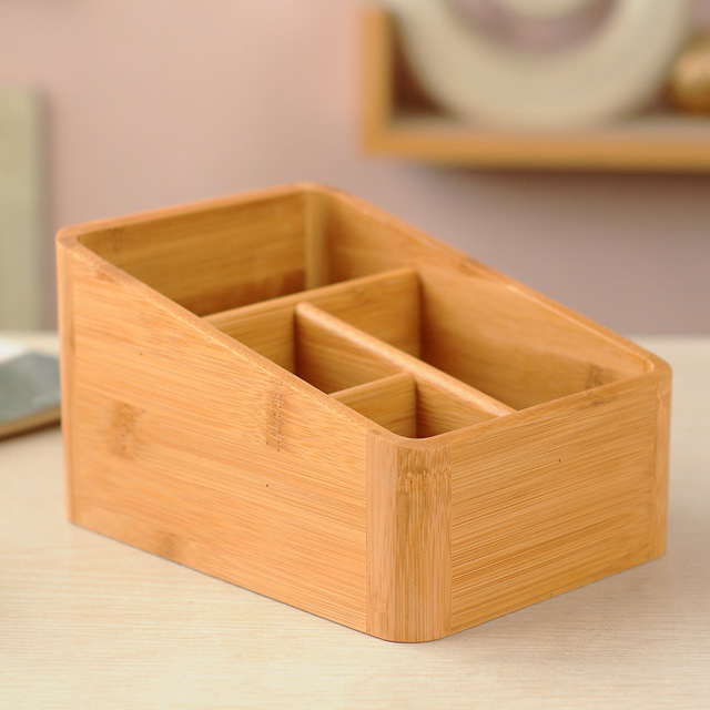 Simple Style Phyllostachys Heterocycla Bamboo Crafts Wooden 4 Lattice Storage Box Design Suitable For Home