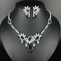 NEW FASHION romantic AAA green zircon necklace earring wedding bride banquet formal dress popular jewelry set free shipping