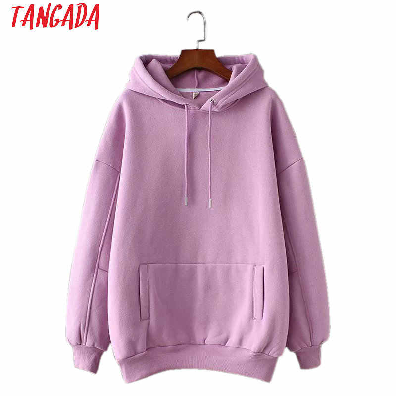 Tangada vrouwen fleece hoodie sweatshirts winter japanse mode 2019 oversize dames truien warm pocket capuchon SD60