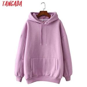 Tangada women fleece hoodie sweatshirts winter japanese fashion 2019 oversize ladies pullovers warm pocket hooded jacket SD60(China)