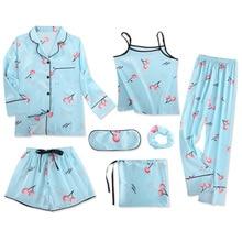7 Piece Womens Silk Satin Pajamas Pyjamas Set Sleepwear Pijama Suit Female Sleep Two Loungewear Free Ship 2019