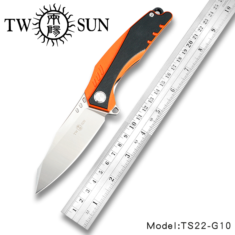 TwoSun Knives G10 D2 Fast Open Folding Pocket Knife tactical knife Survival knives camping hunting outdoor