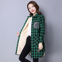 Women Autumn Winter Warm Blouses Tops Blusa Camisa Femininas Cotton Long Sleeve Thick Velvet Plaid Shirt