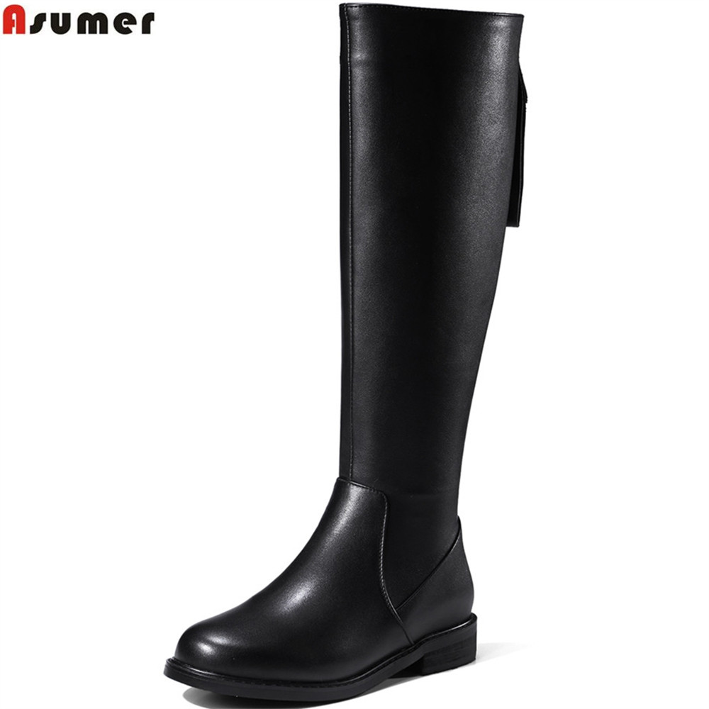 Фотография ASUMER black fashion women boots round toe zipper ladies genuine leather +pu boots square heel cow leather knee high boots