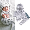 2017 Cute Newborn Infant Baby Clothes 0-24M Bebes Warm Suit Long Sleeve Polka Dot Hooded Sweatshirt Top Pant 2PCS Outfits