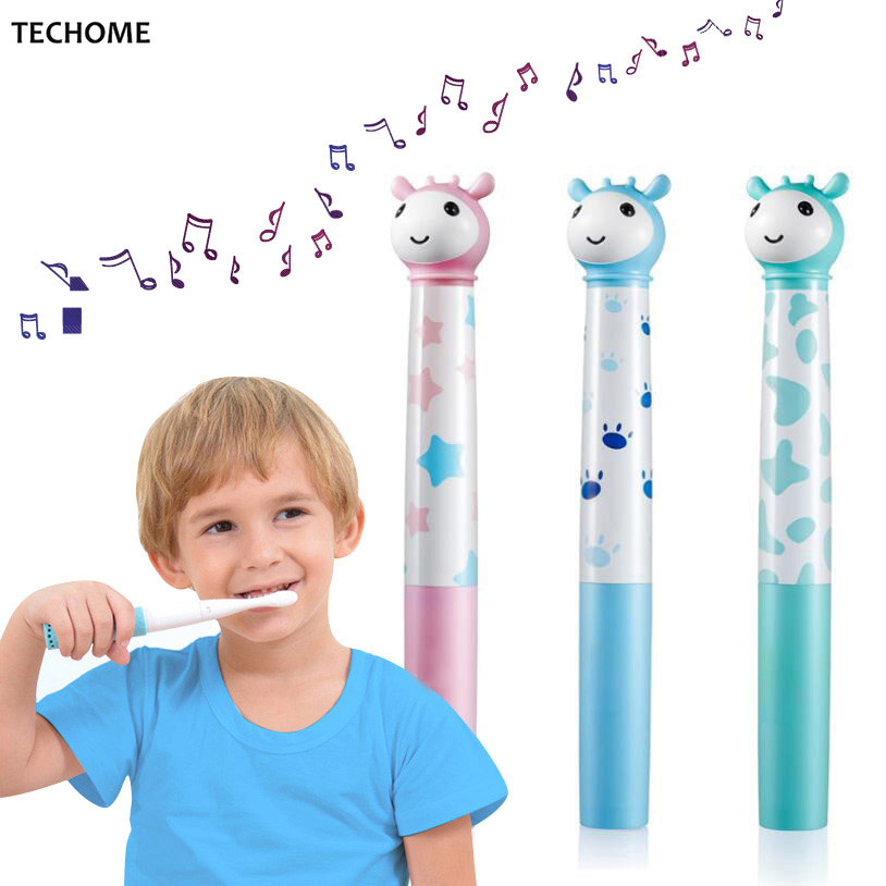 Children Music Electric Toothbrush Kids Vibration Animal Shape Wateproof Electric Toothbrush Soft Silicone Bristle +replace head