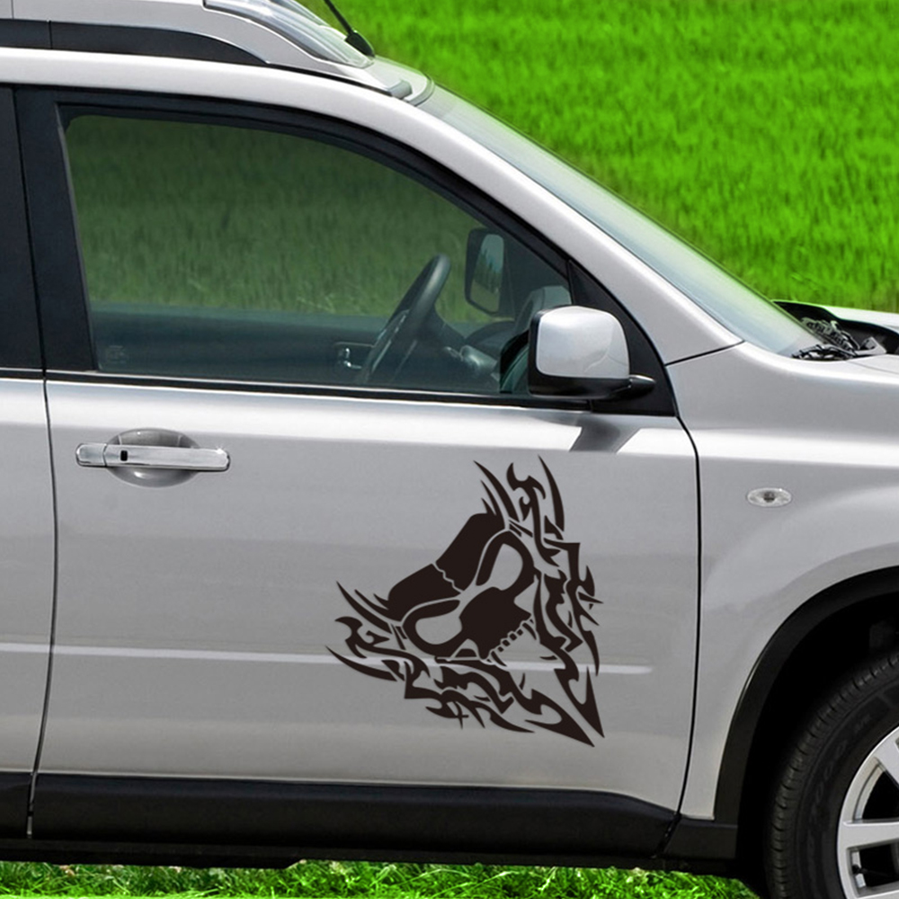 Car styling 40cm41cm fire skull reflective sticker car machine bonnet wolf sticker vinyl decal car accessories
