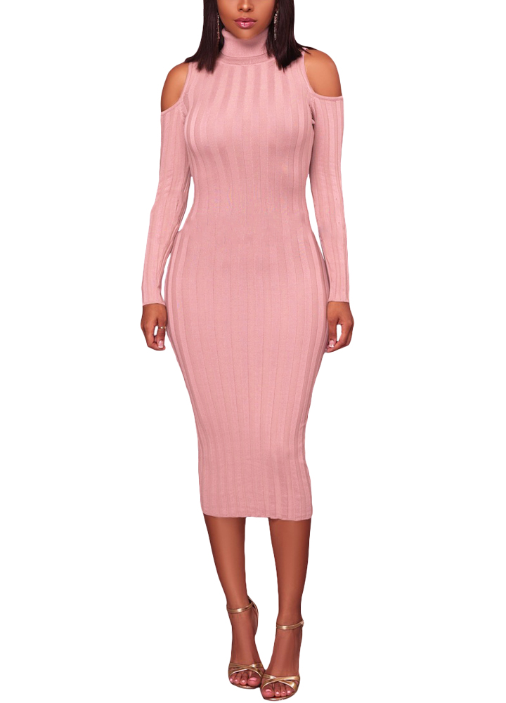 0f047569bf 2019 Turtleneck Long Sleeve Bodycon Dress Women Cold Shoulder Midi Dress  Casual Party Dresses Off Shoulder Pencil Dress female
