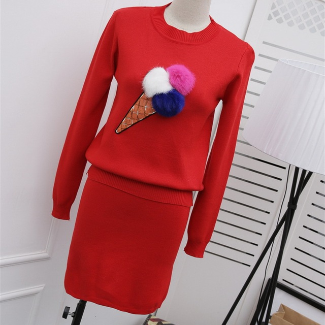 Women Lovely Ice Cream Hairball Sequined Knit 2 Piece Set 2016 New Autumn Winter New Woman Knitted Sweater Tops and Skirt Suits