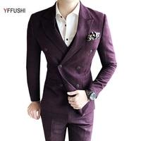 Jacket Vest Pants Men Suit Wine Red Grey Suits Wedding Suits For Men England Style