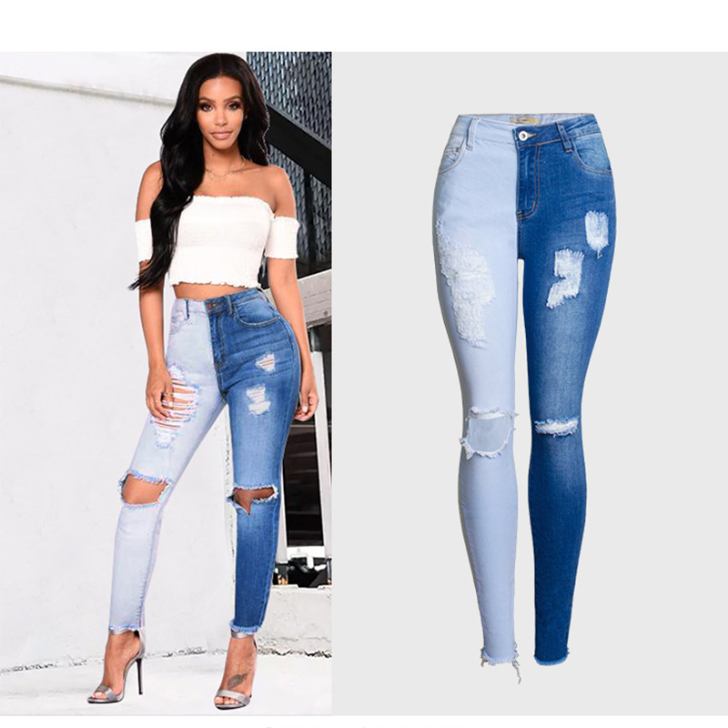 2019 Summer Wash Bleaching Spliced Female Ripped Jeans For Women Stretched High Waist Jeans Ladies Skinny Jeans Woman Mom Jeans