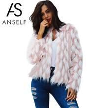 68c28a53f2e Anself Fashion Women Faux fur Coat Open Front Thick Warm Jacket Plus Size  Winter Outerwear Overcoat Pink Manteau Femme Hiver